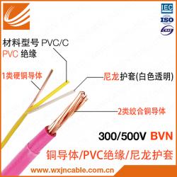 BVN 300V/500V 铜导体PVC聚氯乙烯绝缘尼龙护套电线 无锡江南电缆有限公司 江苏省无锡宜兴电缆厂家